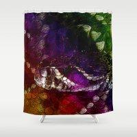 interstellar Shower Curtains featuring Interstellar Snake by Distortion Art