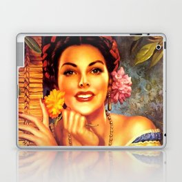 Jesus Helguera Painting of a Mexican Girl Beside Rattan Curtain Laptop & iPad Skin