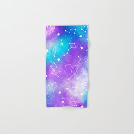 Modern nebula ultra violet watercolor hand painted white constellation stars universe small pattern Hand & Bath Towel