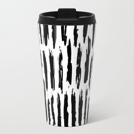 Vertical Dash Black and White Paint Stripes Metal Travel Mug