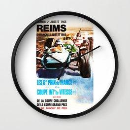 Gran Prix de Reims 1966, vintage poster, race poster, car poster Wall Clock