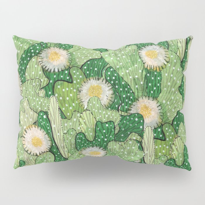 Cacti Camouflage, Green and White Pillow Sham