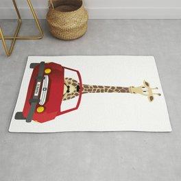 Giraffe in a Car Rug