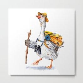 Hiking Goose Metal Print