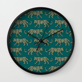 Kitty Parade - Olive on Dark Teal Wall Clock