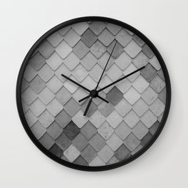 Fifty Gray Shades of Tiles (Black and White) Wall Clock