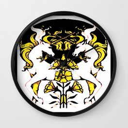 TWO UNICORNS & FLOWERS IN BLACK-GOLD ART Wall Clock