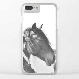 Stallion in black and white Clear iPhone Case