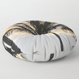 Palm trees sunset sky with orange clouds Floor Pillow