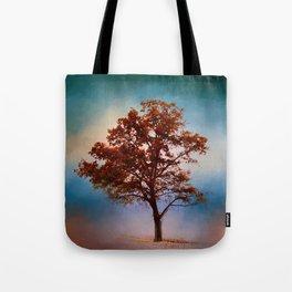 Vermillion Cotton Field Tree - Landscape Tote Bag