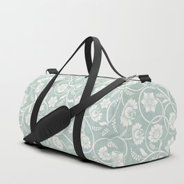caribbean teal green floral pattern Duffle Bag