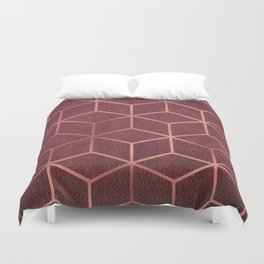 Pink and Rose Gold - Geometric Textured Gradient Cube Design Duvet Cover