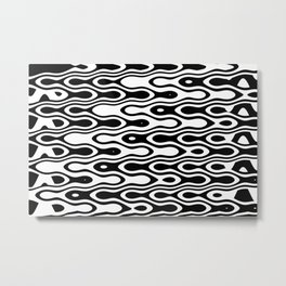 Asymmetry collection: black and white dynamic waves Metal Print