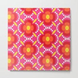 Retro happy bright floral 3 Metal Print