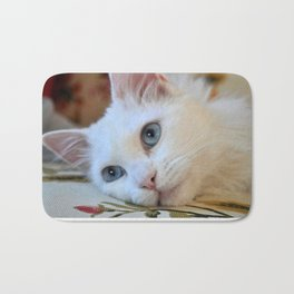Portrait of A Blue Eyed Van Cat  Bath Mat