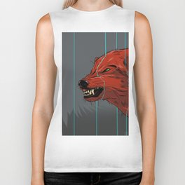 Red wolf with blue lines Biker Tank