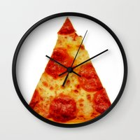 pizza Wall Clocks featuring PIZZA by @thecultureofme
