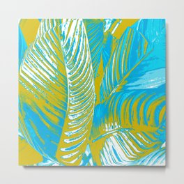 Colorful Leaves Lovely Turquoise #society6 #decor Metal Print
