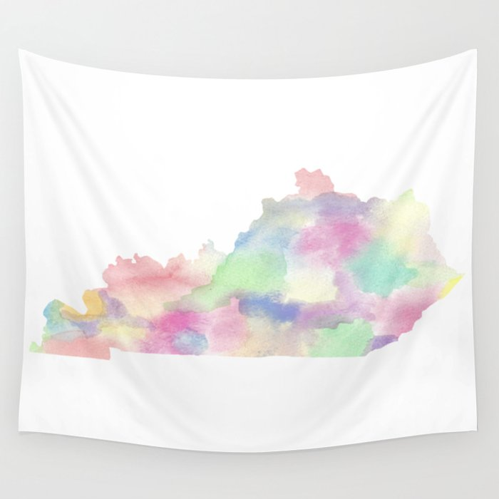 State Map Kentucky.Watercolor State Map Kentucky Ky Colorful Wall Tapestry By