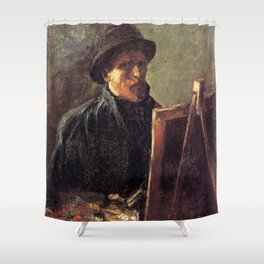 Self-Portrait with Dark Felt Hat at the Easel by Vincent van Gogh Shower Curtain