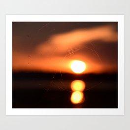 Sunset Through A Spiderweb Art Print