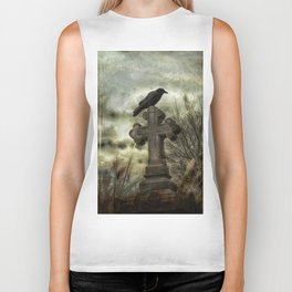 Gothic Crow Perched On A Old Cross Biker Tank