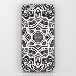 Mandala Project 209 | White Lace on Black iPhone Skin
