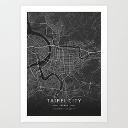Taipei City, Taiwan - Dark Map Art Print