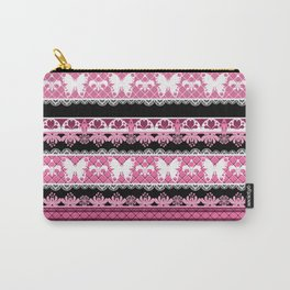 Black and pink striped pattern . Carry-All Pouch