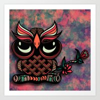 Owl Tangle Art Print