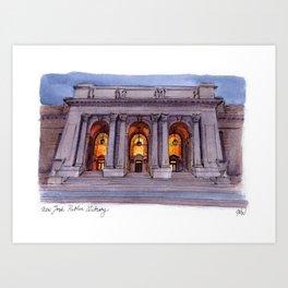 New York Public Library at Night Art Print