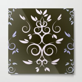 White and Light Blue Intertwining Leaves Metal Print