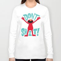 elmo Long Sleeve T-shirts featuring Crazy Elmo by Chris Piascik
