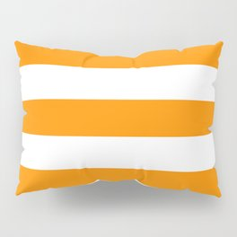 American orange - solid color - white stripes pattern Pillow Sham