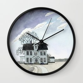 House under the Starry Skies Wall Clock