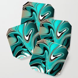 Liquify 2 - Brown, Turquoise, Teal, Black, White Coaster