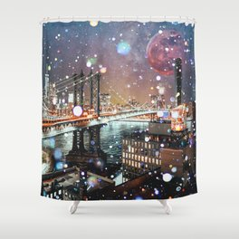 New York City Lights Manhattan Rooftop City Views Shower Curtain