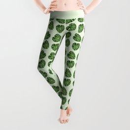 Palm Leaves, Leaf Pattern - Green Leggings