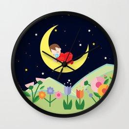 moonlight , nursery decor Wall Clock