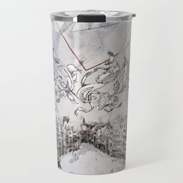 Black and white abstract city landscape Travel Mug