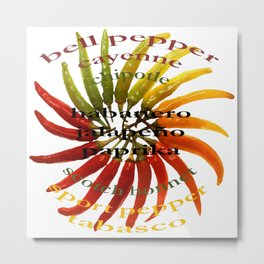Chili Color Wheel With Hot Pepper Text Metal Print
