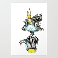 frog Art Prints featuring frog by krigkou petroula