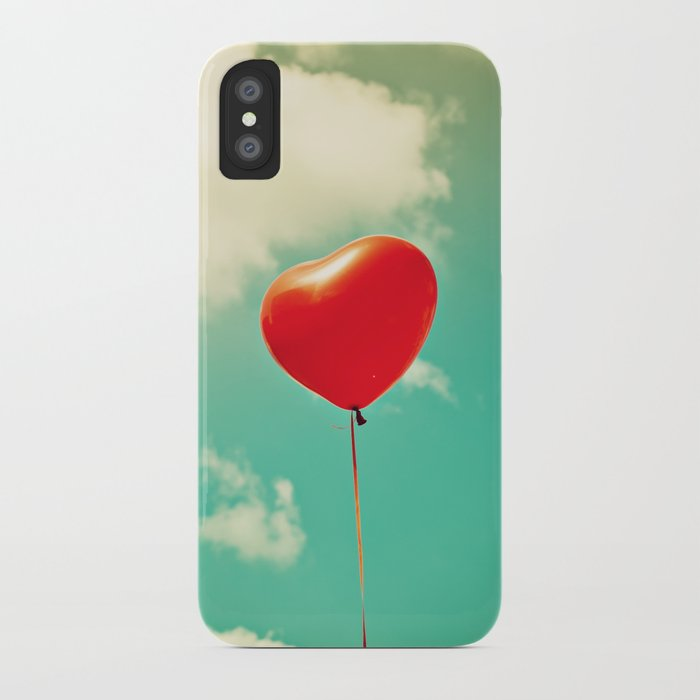 Red Heart Balloon in a Vintage Turquoise Sky  iPhone Case