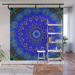 Mandala in Cobalt And Gold Wall Mural