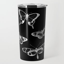 Vintage Butterflies Illustration on Black Background Travel Mug