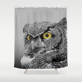 Contemporary Black & White Great Horned Owl Bird Yellow eye Art A515 Shower Curtain