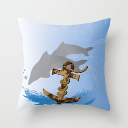 Old Rustic Anchor Throw Pillow