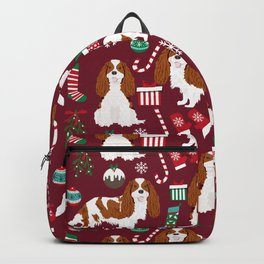 Cavalier King Charles Spaniel blenheim coat christmas pattern dog breed by pet friendly Backpack