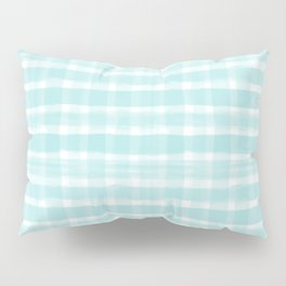 Watercolor Brushstroke Plaid Pattern Pantone Limpet Shell Blue 13-4810 Pillow Sham