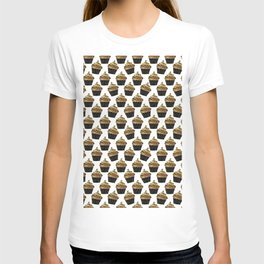 Black gold abstract modern sweet cupcake pattern T-shirt